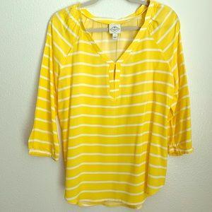 St. John Bay Yellow Tunic 3/4 Length Sleeves